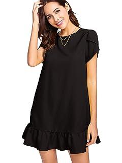b360c2ab62f Verdusa Women's Round Neck Petal Short Sleeve Ruffle Hem Tunic Dress