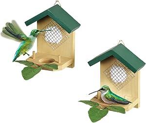 Hanging Hummingbird House and Leaf Nesters - Set of 2, Beige, Beige