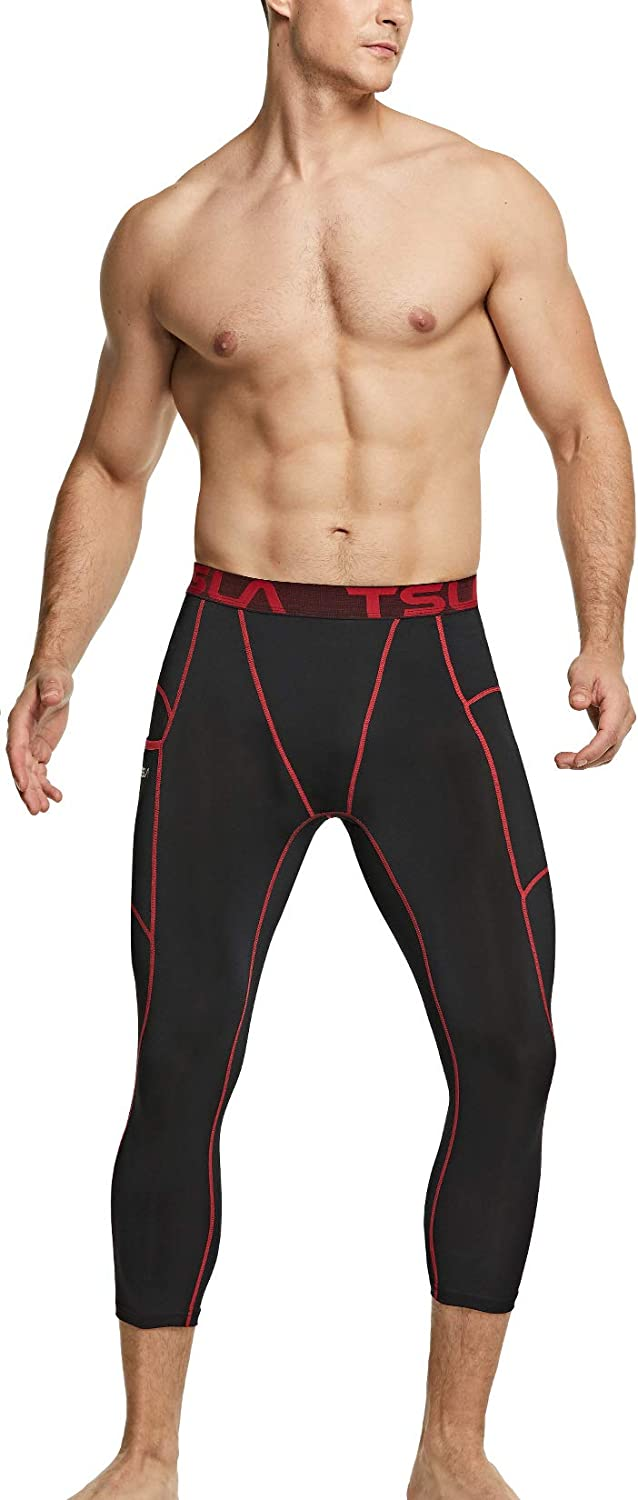 TSLA Mens 3//4 Compression Running Tights Athletic Cool Dry Leggings Sports Underwear Running Yoga Workout
