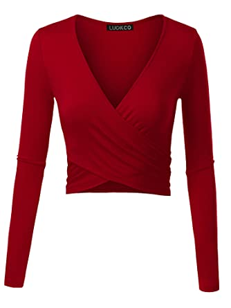 67e440485c904 Luckco Women's Deep V Neck Long Sleeve Cross Wrap Slim Fit Crop Tops at  Amazon Women's Clothing store: