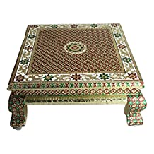 Premium Quality Puja Bajot /Table/ Chowki (Indian Religious Pooja Table) - Meenakari Gold Platted, 18 L X 18 W X 5 H (Large)