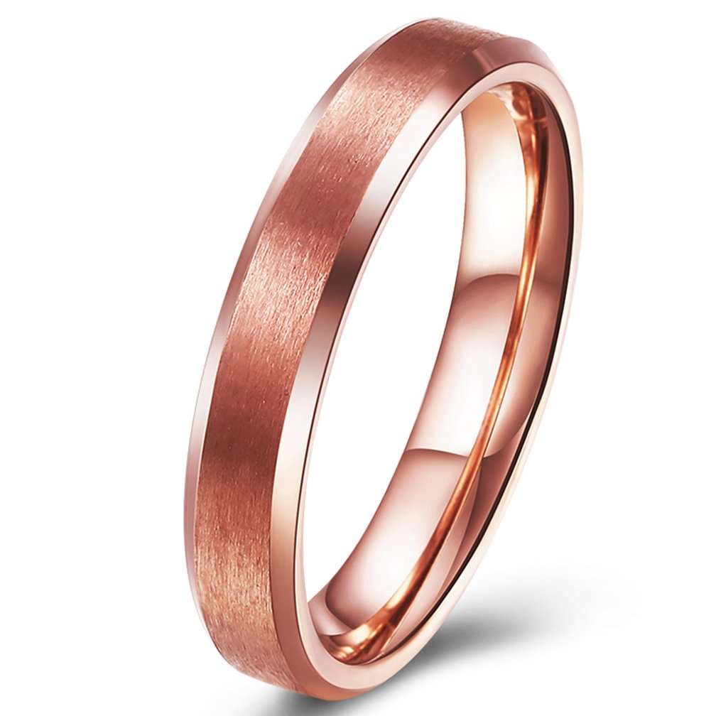 SAINTHERO Men's Wedding Bands Thin 4MM Titanium Steel 18K Rose Gold Plated Promise Rings for Him High Polish Comfort Fit Size 7