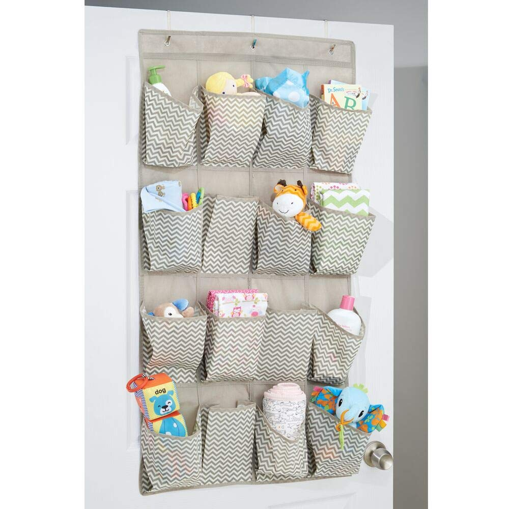 Gray Textured Print mDesign Soft Fabric Over The Door Hanging Storage Organizer with 16 Deep Pockets for Child//Kids Room Playroom Metal Hooks Included Nursery