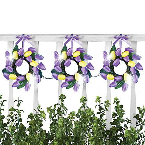 Collections Etc Pre-Lit Purple and Yellow Tulip Wreaths Garland Decor, Battery Operated, 36