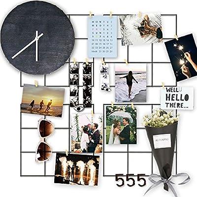 RECESKY 4 Pcs malla metálica / mosaico de imagines - Marcos de fotos - decoraciones de pared foto - tablero de notas (cada pieza 20*20cm Negro)
