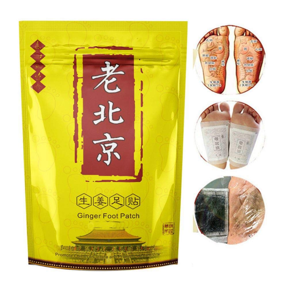 Symeas 20 Patches Foot Patch with Ginger and Wormwood Anti-Swelling Pain and Stress Relief Anti-Inflammation Swelling Ginger Foot Patch