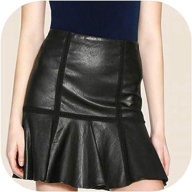 Falda corta de cuero genuino para mujer, color negro, delgada ...