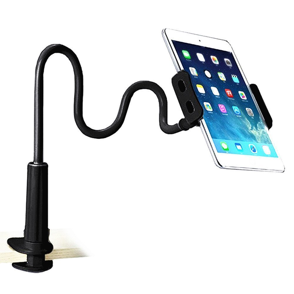 Eschone Cell Phone Stand Holder, Gooseneck Flexible Clip Lazy Arm Bracket for Tablet ipad/ iPhone 7/6/6s Plus Samsung Note Galaxy S6/S7 Mount for Desktop Bedroom, Office, Bathroom, Kitchen (Black)