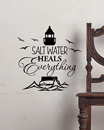 Amazon.com: Wall Decal Salt water heals everything. cute ocean Vinyl ...