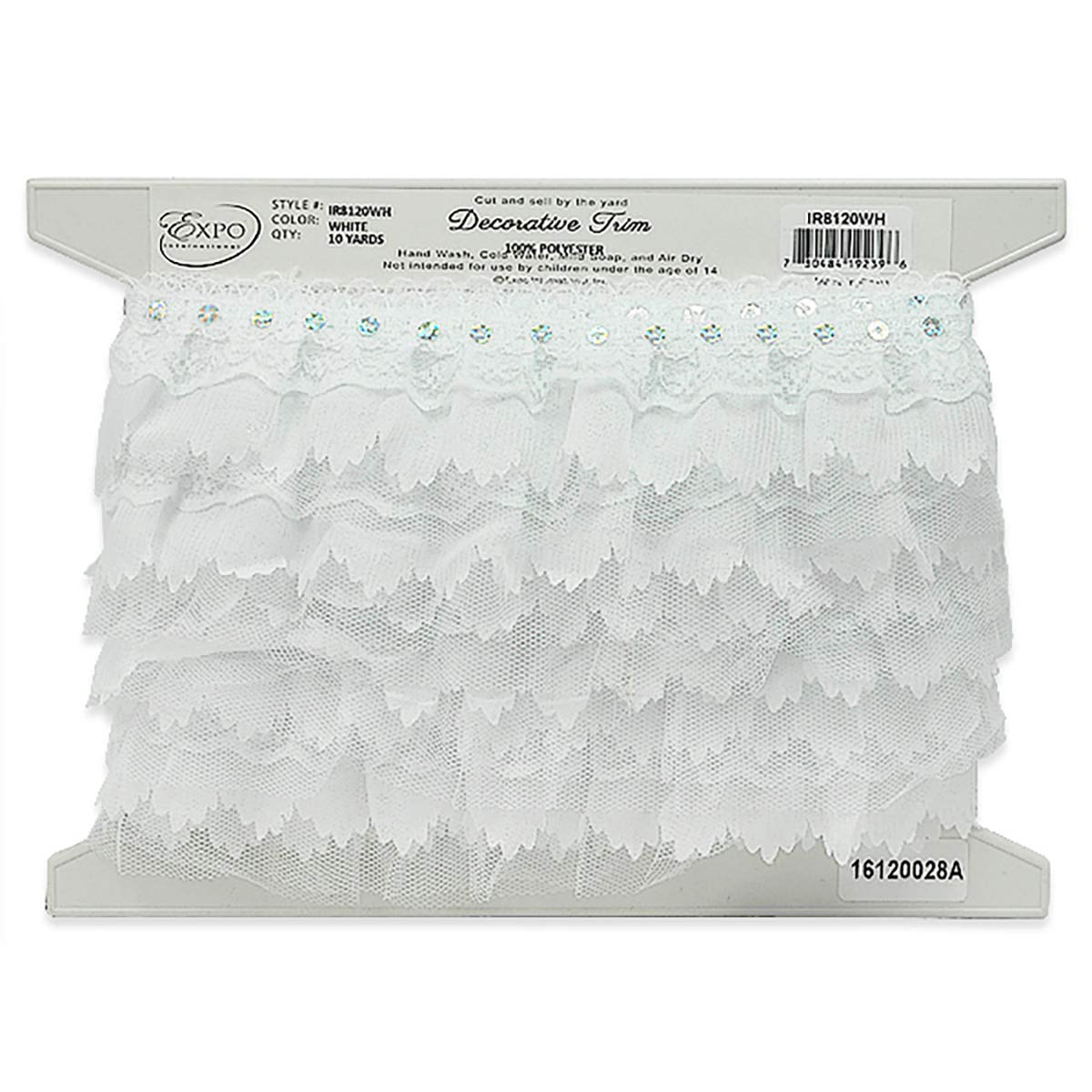 Elenor Sequin Embellished Lace Trim 2 1/6in White (Precut 10 Yard) 5631 Braxton Drive