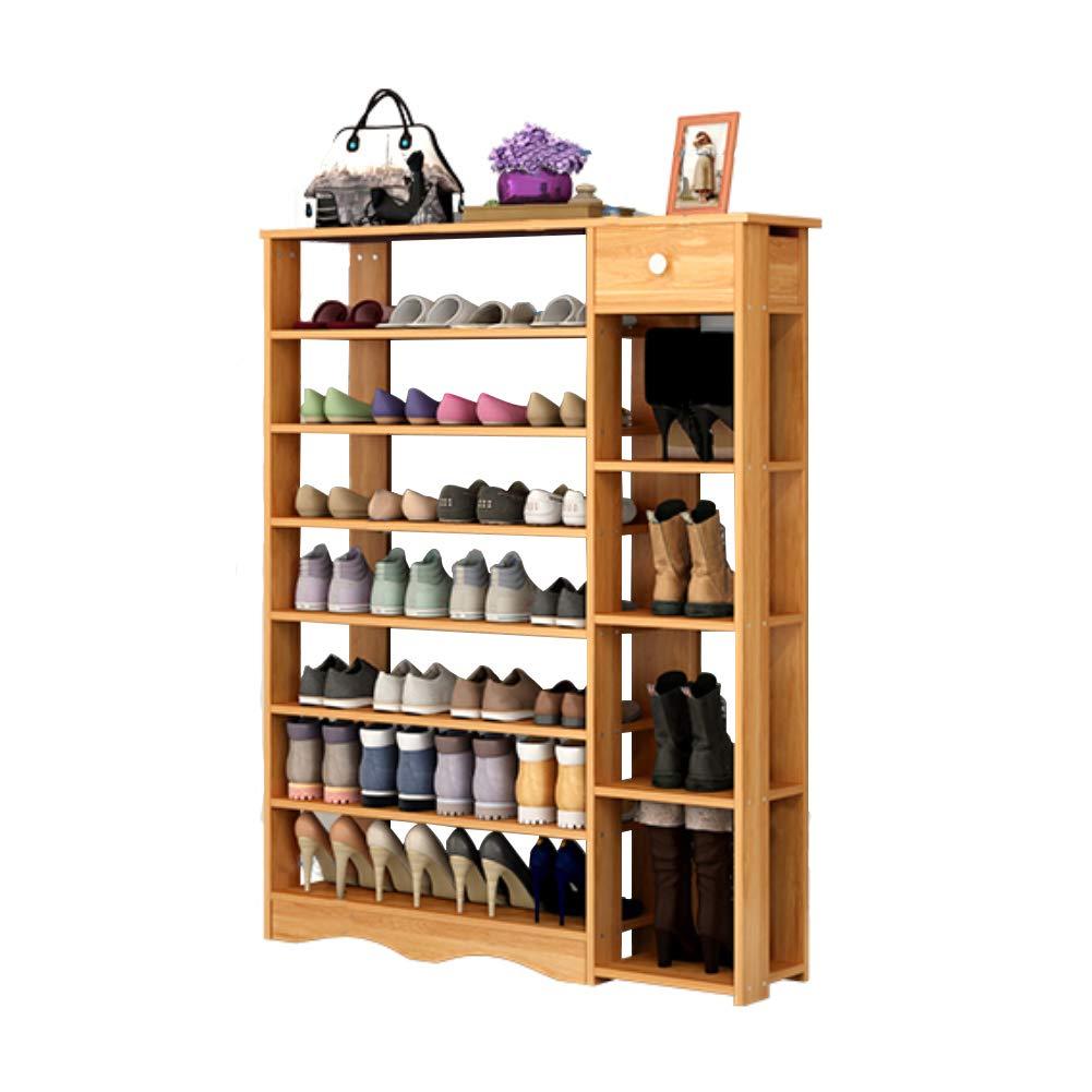 Polar Aurora 8 Tier Wood Multi Function MDF Shoe Rack Shelf w/4 Layer Boots Store & 1 Drawer Shoe Storage Shelves Free Standing Shelf Organizer