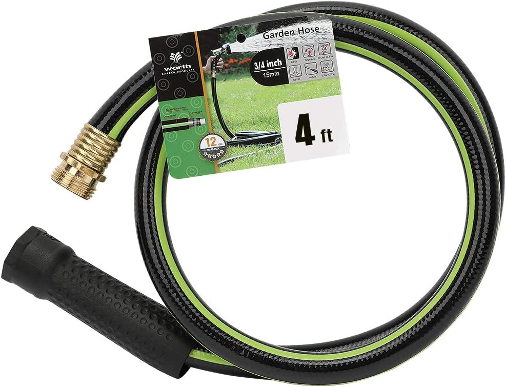 "Worth Garden 4ft Hose 3/4"" x4' Water Hose - Durable Non Kinking Garden Hose - PVC Material with Brass Hose Fittings - Flexible Hose for Household and Professional Use - 12-Year Manufacturer Warranty"