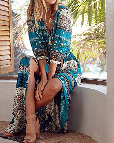 Boho Green Women's AELSON Dresses Button Size Plus Beach Dress Split Long Summer Maxi up Floral T6qZqE