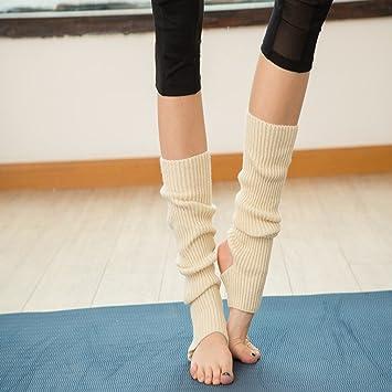 UNKE Womens Knee-high Knit Long Leg Warmers Christmas Stocking for Ballet Dance,White