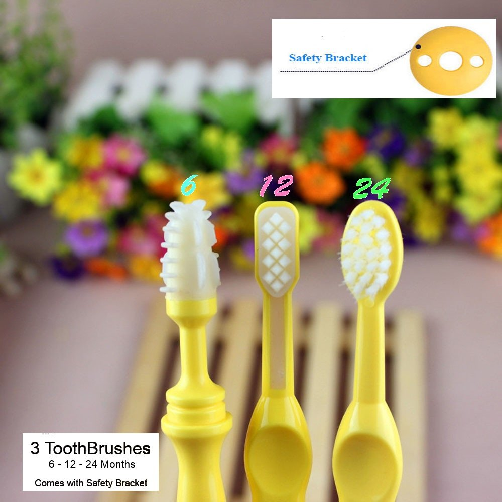 Benber Baby Bendable Training Toothbrush Triple Pack - 6 Month, 12 Month and 24 Month Silicone Toothbrushes for Baby to Toddler Toothbrush Training - Comes with Safety Guard and 3 Toothbrushes Ltd.