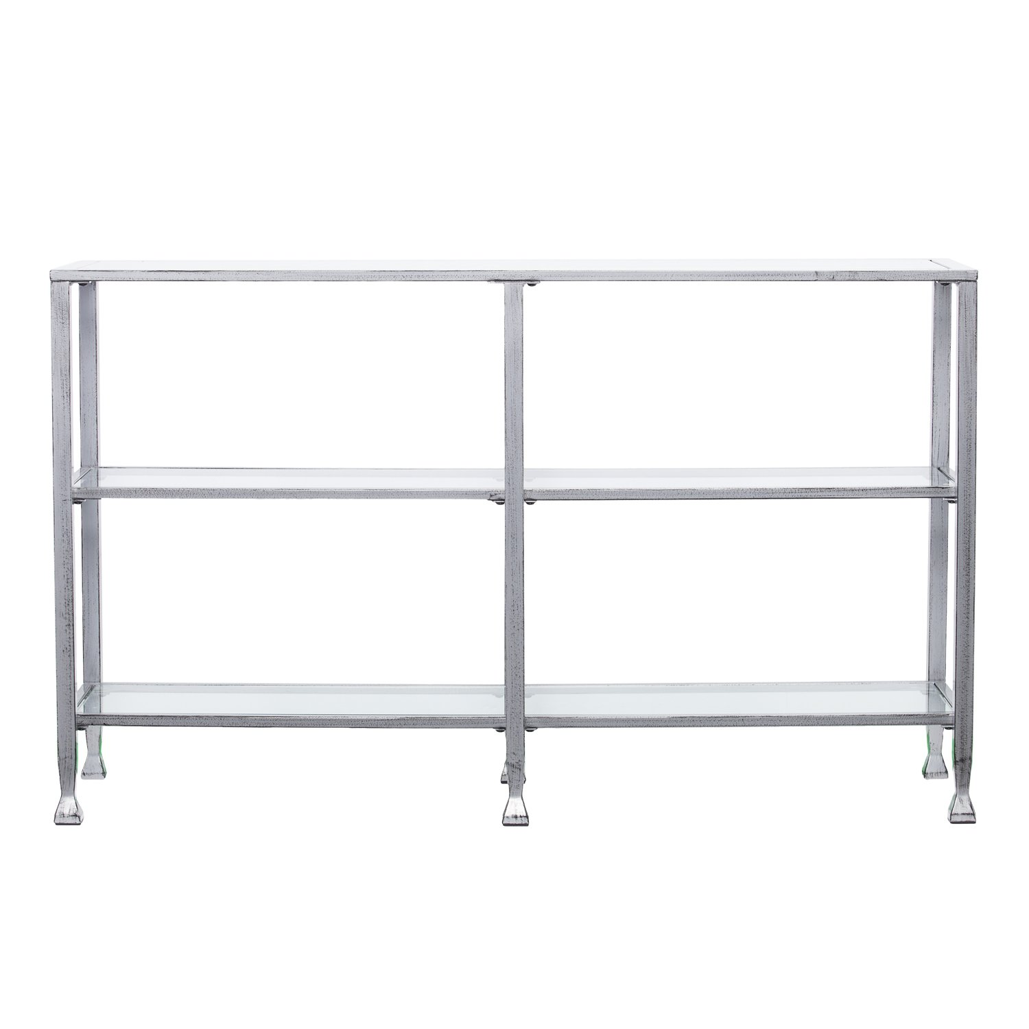 Southern Enterprises Jaymes 3 Tier Glass Console Media Table, Silver Frame Finish by Southern Enterprises