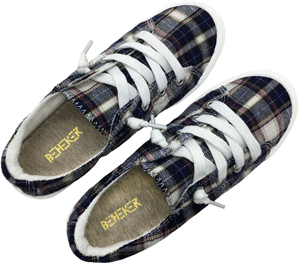 BENEKER Womens Low Top Canvas Sneakers Slip-On Comfort Shoes