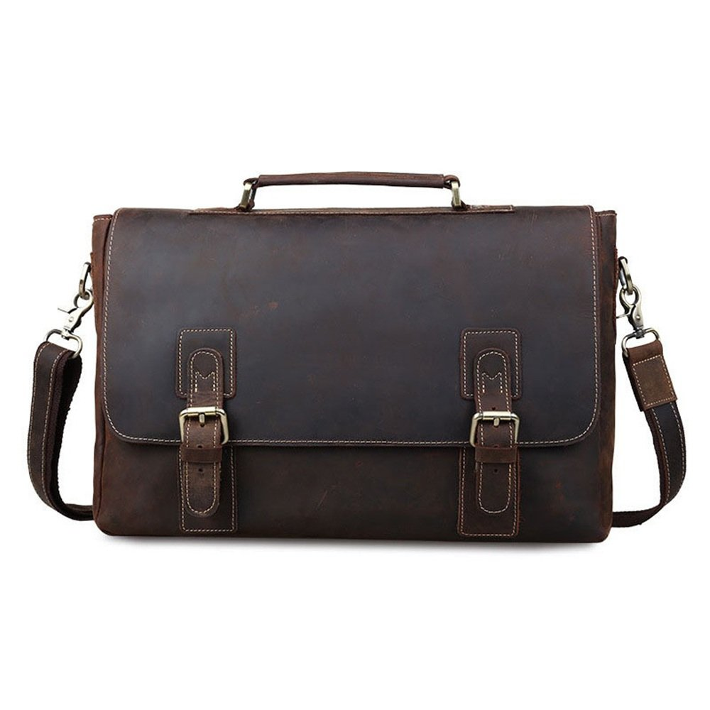 Color : Dark Brown FeliciaJuan Mens Adjustable Shoulder Strap Tote Strap Crossbody Bag 14 Inch Notebook Messenger Bag Business Briefcase