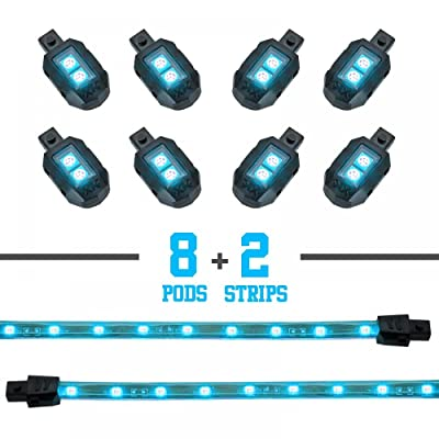LIGHT BLUE 8 POD 2 STRIP LED Universal Motorcycle Accent Neon Underglow Light Kit: Automotive