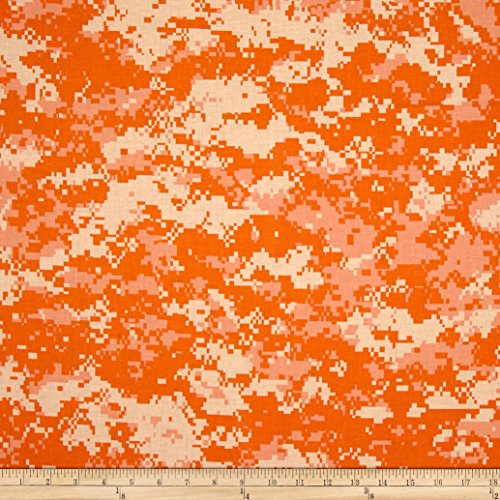 Urban Camouflage Orange Fabric By The Yard