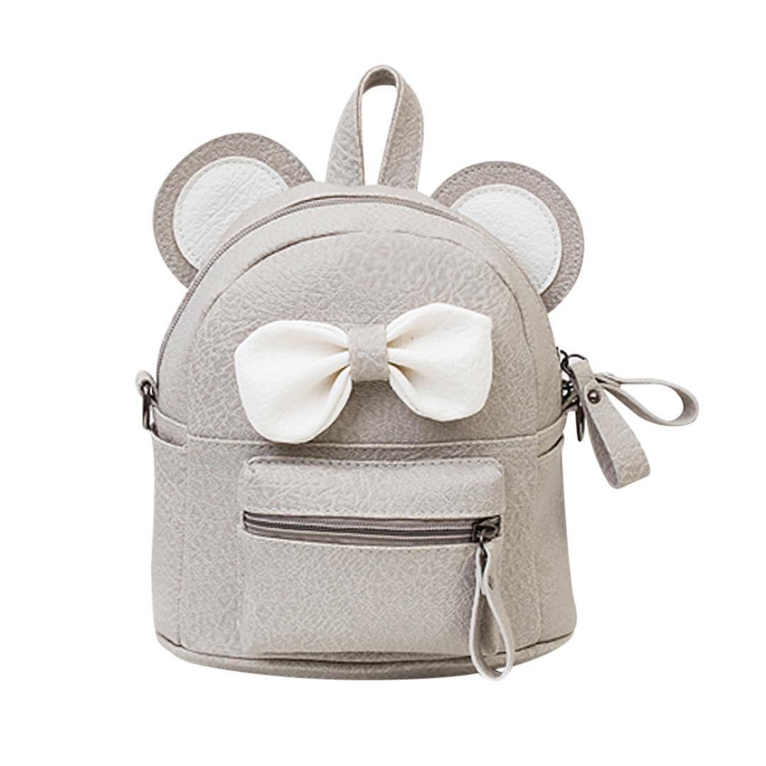 BCDshop Women Cute Mini Bow Tie PU Leather Backpack Girl Fashion Small Daypacks Purse (Grey)
