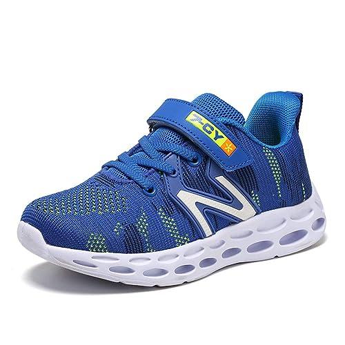 SC Zapatillas de Deporte Ni/ños Ligeras y Transpirables Running Shoes Ni/ño y Ni/ña Velcro Trainers