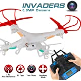 LIDI 2.4GHz 6-Axis Gyro 360° Flip Headless Mode RC Quadcopter with 0.3MP HD Camera for beginners, kids RC Aircraft(White)