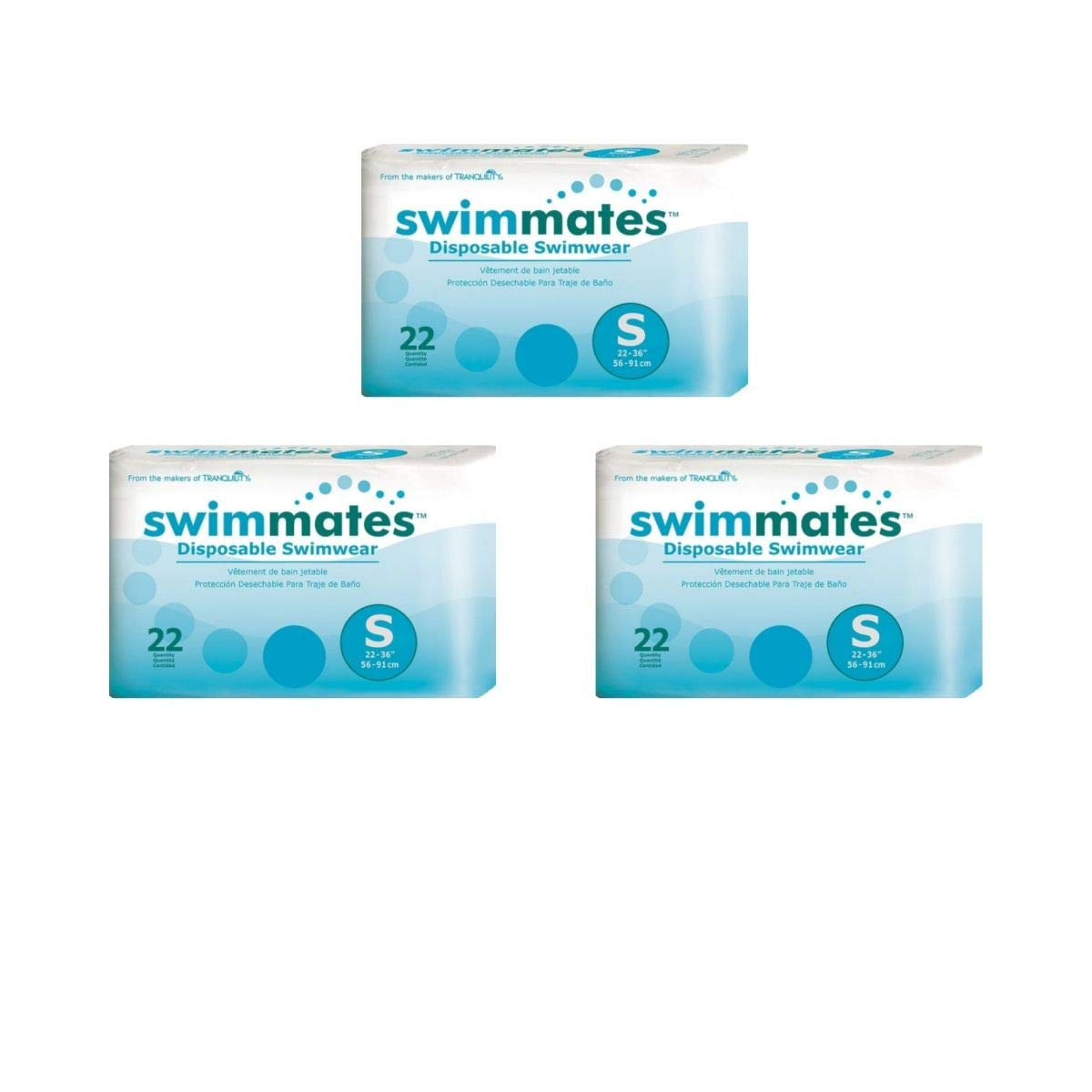 Swimmates Disposable Adult Swim Diapers, Small 22 ea (3 Pack)