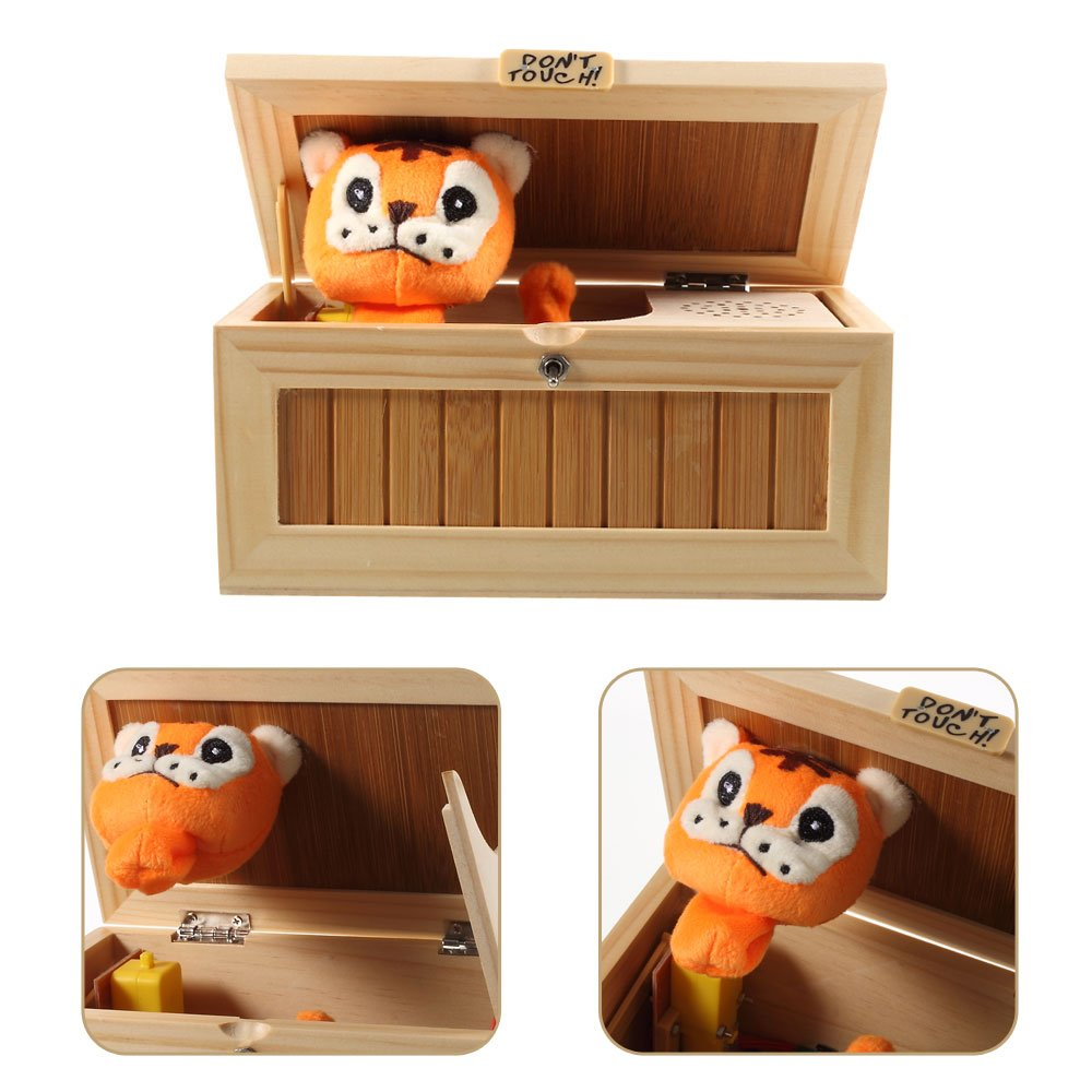 wooden children toy Dulcii Cartoon Creative Dont Touch Tiger Useless Box Unique Musical Wooden Box Jokes Funny toys for friends and kids