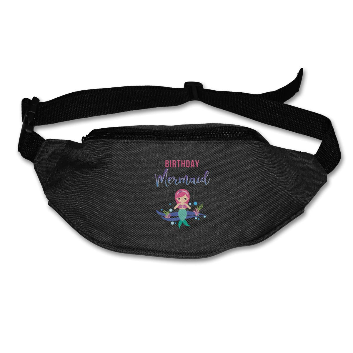 Cute Mermaid Birthday Sport Waist Bag Fanny Pack Adjustable For Travel