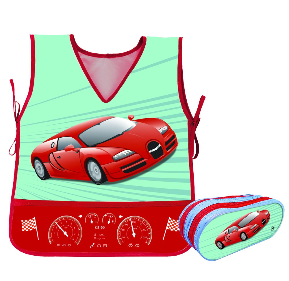 Kids (4 to 9) Plastic Car Design Apron With Large Double Zipper Matching Pencil Case