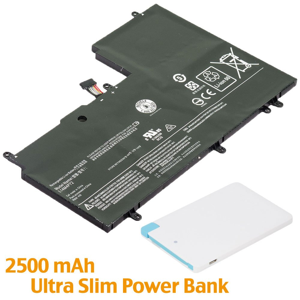 Battpit™ Laptop/Notebook Battery Replacement for Lenovo Yoga 700-14ISK 80QD004VCF (6280mAh/45Wh) with 2500mAh Power Bank/External Battery for Micro USB & USB Type C.