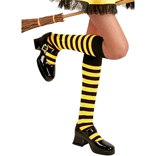 d39af9421bc Image Unavailable. Image not available for. Color  Charades Girls Black   Yellow  Knee High Striped Socks