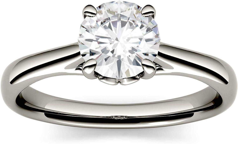 Charles & Colvard Forever One anillo de compromiso - Oro blanco 14K - Moissanita de 6.5 mm de talla redonda, 1.046 ct. DEW