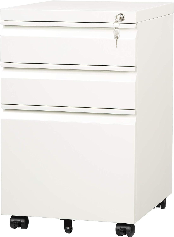 DEVAISE 3 Drawer Mobile File Cabinet Under Desk, Fully Assembled Except Casters, Letter/Legal Size, White