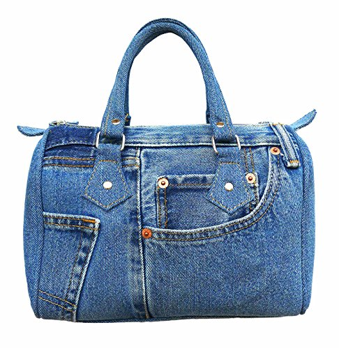 Denim Purse Blue Jean - Bijoux De Ja Classic Blue Denim Jean Doctor Style Women Handbag (LL-04)