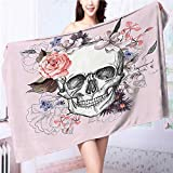 Miki Da 100% Cotton Bathroom Towels Skull and Blooms Catholic Popular Ceremony Celebrating Artistic Design Fluffy, and Absorbent, Premium Quality L39.4 x W19.7 INCH