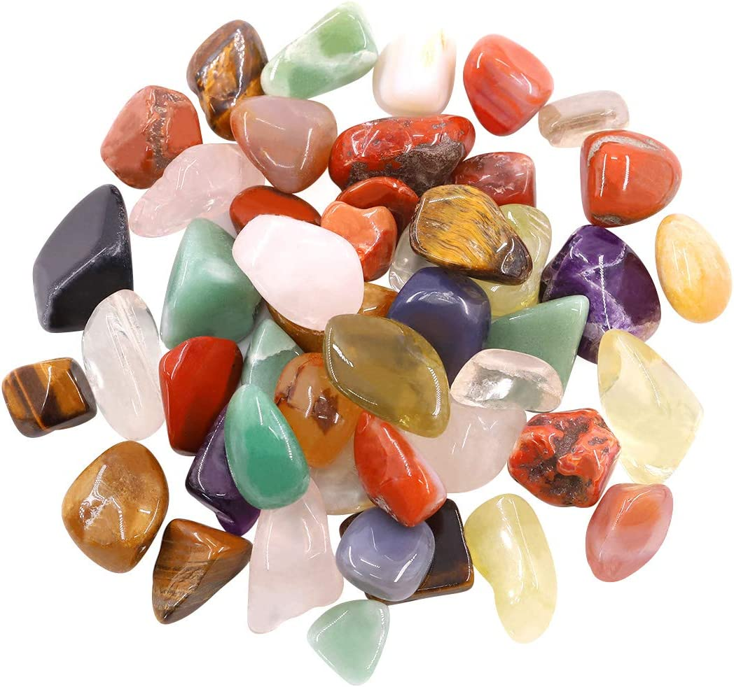 Hilitchi Quartz Stones Tumbled Chips Stone Crushed Crystal Natural Rocks Healing Home Indoor Decorative Gravel Feng Shui Healing Stones Obsidian 450g //Bag About 1lb