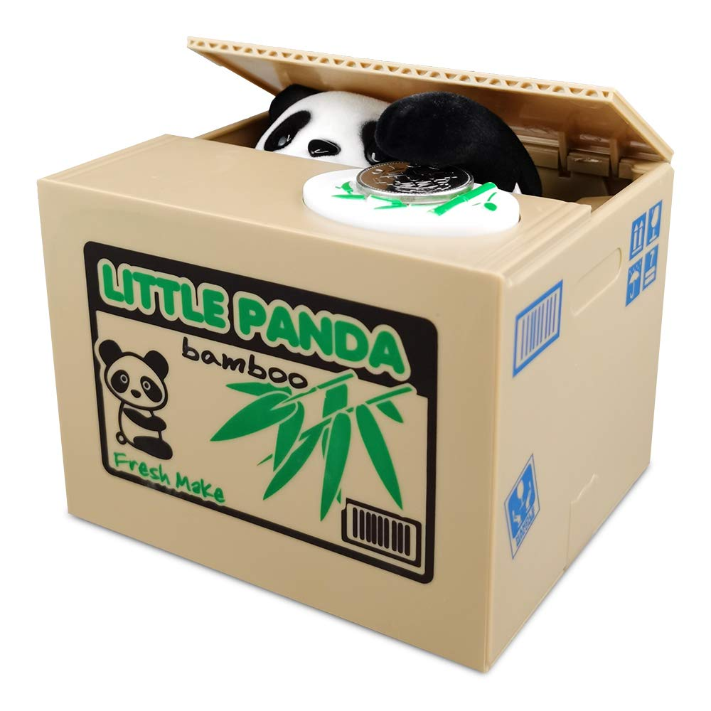 TUSEASY Stealing Coin Piggy Bank Automatic Money Saving Box Birthday Children's Day Great Gift for Kids Children Panda (Bamboo)
