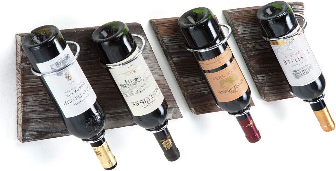 J JACKCUBE DESIGN Rustic Wood and Metal Wine Rack Set of 3 Wall Mount 4 Bottles Vintage Storage Holder for Home Bar, Kitchen, Living Room :MK490A