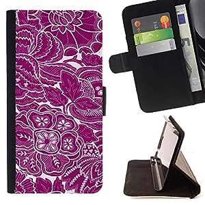 BullDog Case - FOR/Samsung Galaxy S6 / - / wallpaper purple white floral flowers art /- Monedero de cuero de la PU Llevar cubierta de la caja con el ID Credit Card Slots Flip funda de cuer
