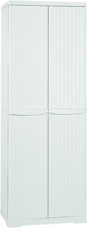 Line Elegance - Armario escobero de ratán blanco, de 65x 45x 180 cm,para exterior