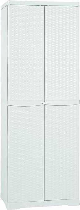 Line Elegance - Armario escobero de ratán blanco, de 65 x 45 x 180 cm, para exterior: Amazon.es: Bricolaje y herramientas