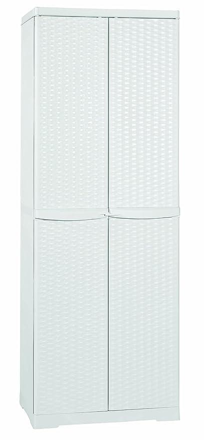 Offerte Armadio Per Esterno.Mobile Box Portascope Rattan Bianco 65x45x180 Da Esterno Line