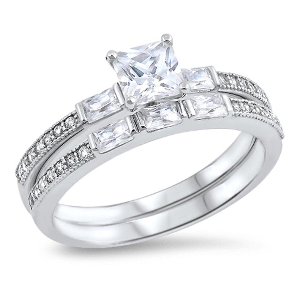 CloseoutWarehouse Clear Princess Cut Cubic Zirconia Center Designer Wedding Set Ring Sterling Silver