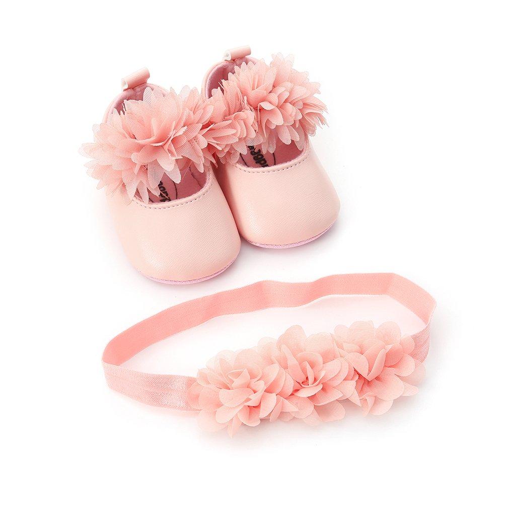 EDOTON B/éb/é Fille Chaussures de Fleur avec Bandeau Cadeau Ensemble pour Christening Belle Automne Semelle Souple Anti-d/érapant Chaussures for Bambin Fille