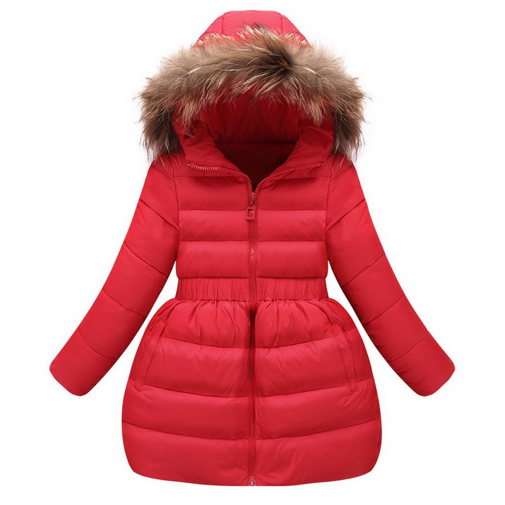 Evedaily Kids Girls Winter Down Jacket Hood Fur Outerwear Thick Warm Coat