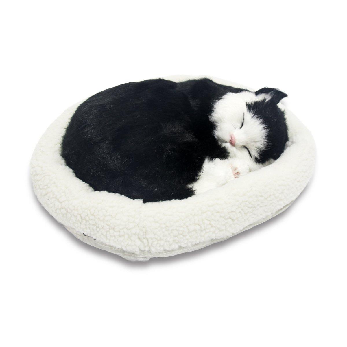 Signstek Breathing Sleeping Plush Kitty Cat Pet Black & White Shorthair by Signstek