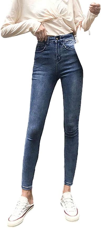 Miwaimao 2020plus Tamano Boton Volar Mujer Jeans Cintura Alta Azul Pantalones Jeans Para Las Mujeres De Alta Amazon Es Ropa Y Accesorios