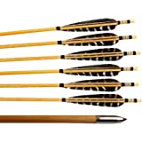 Huntingdoor 12 Pcs Turkey Feather Fletching Wooden Arrows Archery Target Arrows with Field Points for Recurve Bow or Longbow